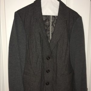 Talbots Grey Quilted Blazer with Sweater Sleeves
